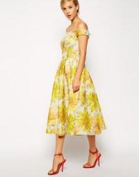 Lyst - Asos Sunflower Bardot Midi Prom Dress in Yellow