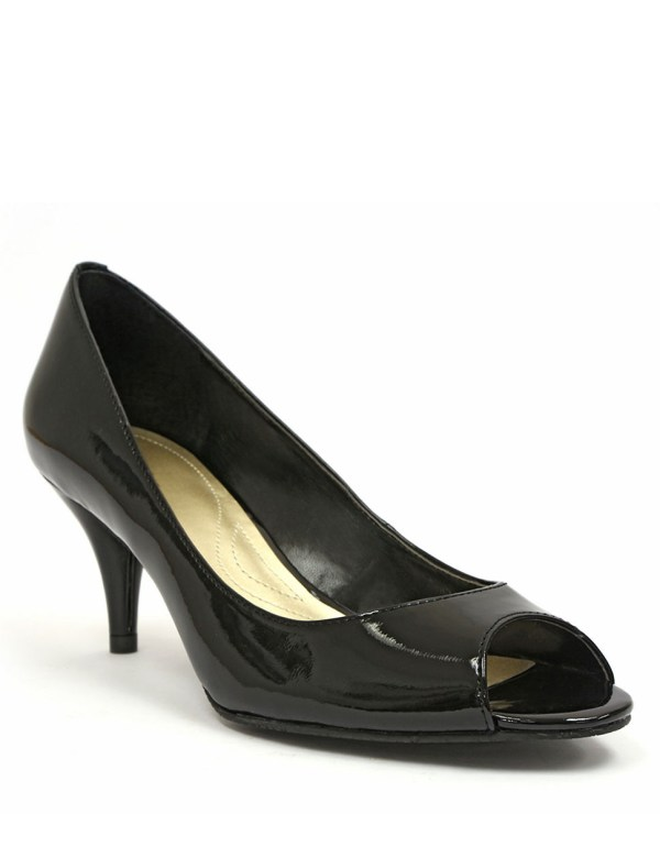 Tahari Marie Patent Leather Open-toe Pumps In Black Lyst