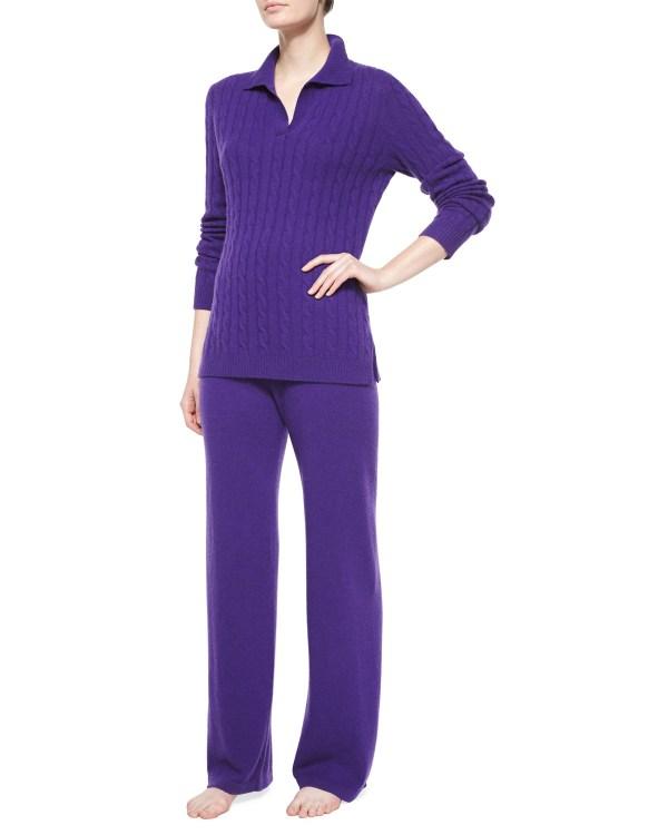 Neiman Marcus Johnny-collar Cashmere Lounge Set In Purple