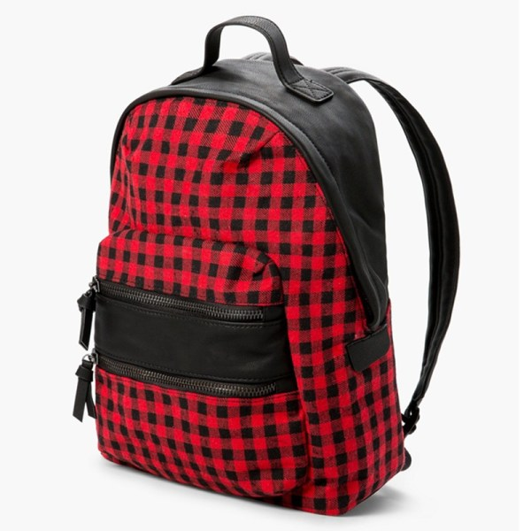 Red and Black Plaid Backpack