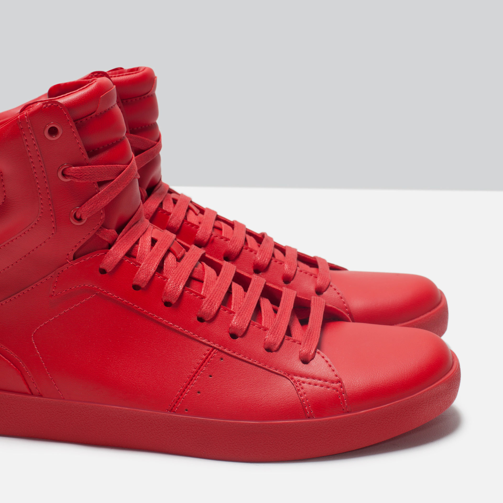 Zara Quilted FauxLeather HighTop Sneakers in Red for Men