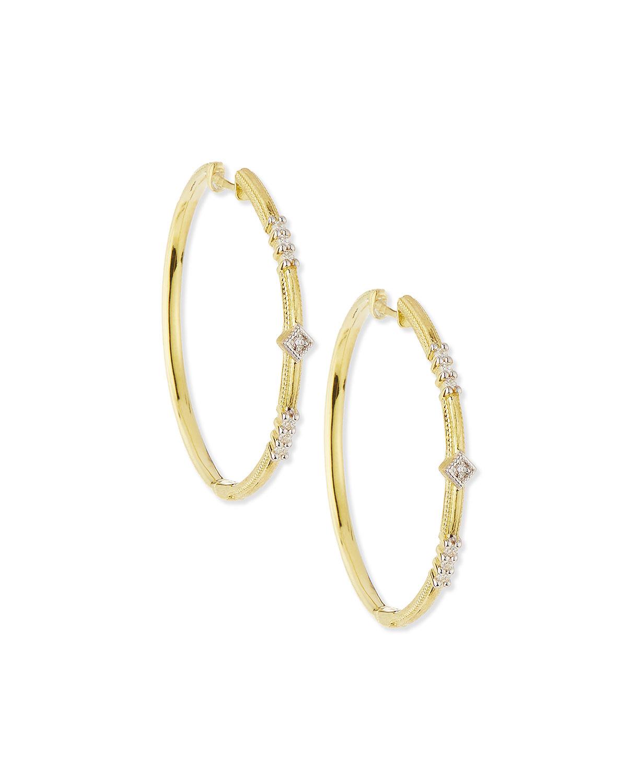 Jude frances Lisse Triple Diamond Pav Hoop Earrings in