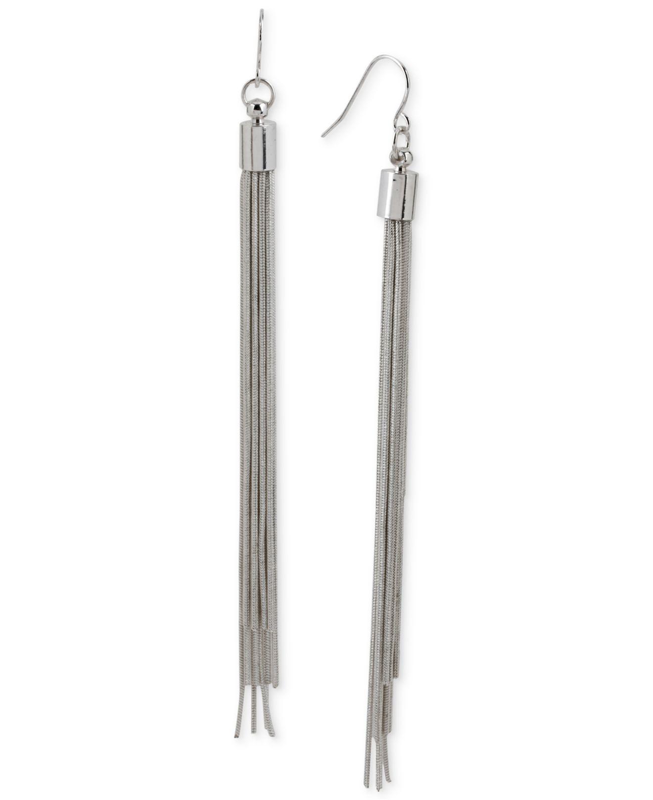 Kenneth cole Silver-tone Multi-chain Linear Earrings in