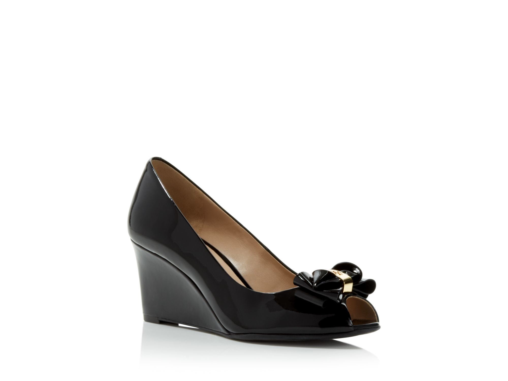 Tory burch Stacked Bow Peep Toe Wedge Pumps in Black  Lyst