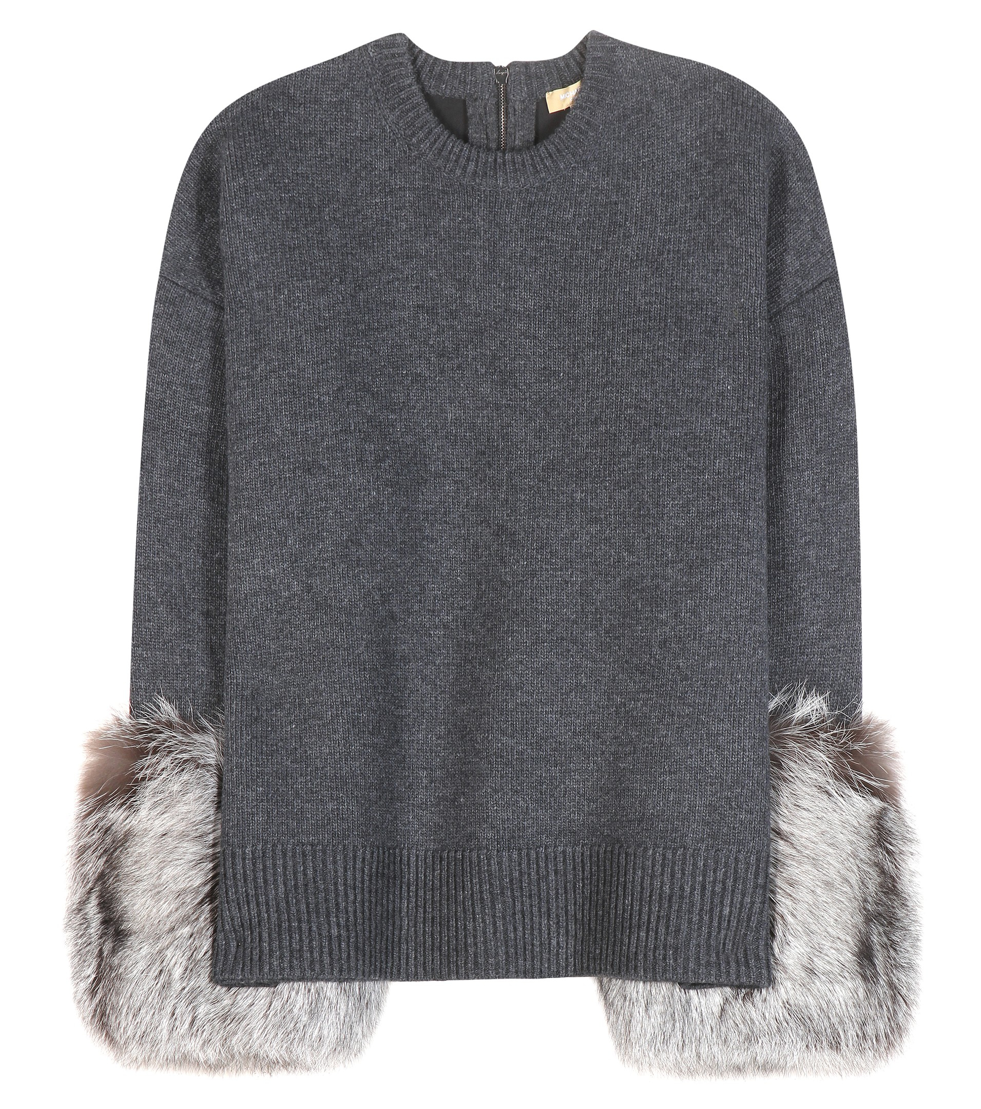 Michael kors Sweater With Furtrim Cuffs in Gray  Lyst