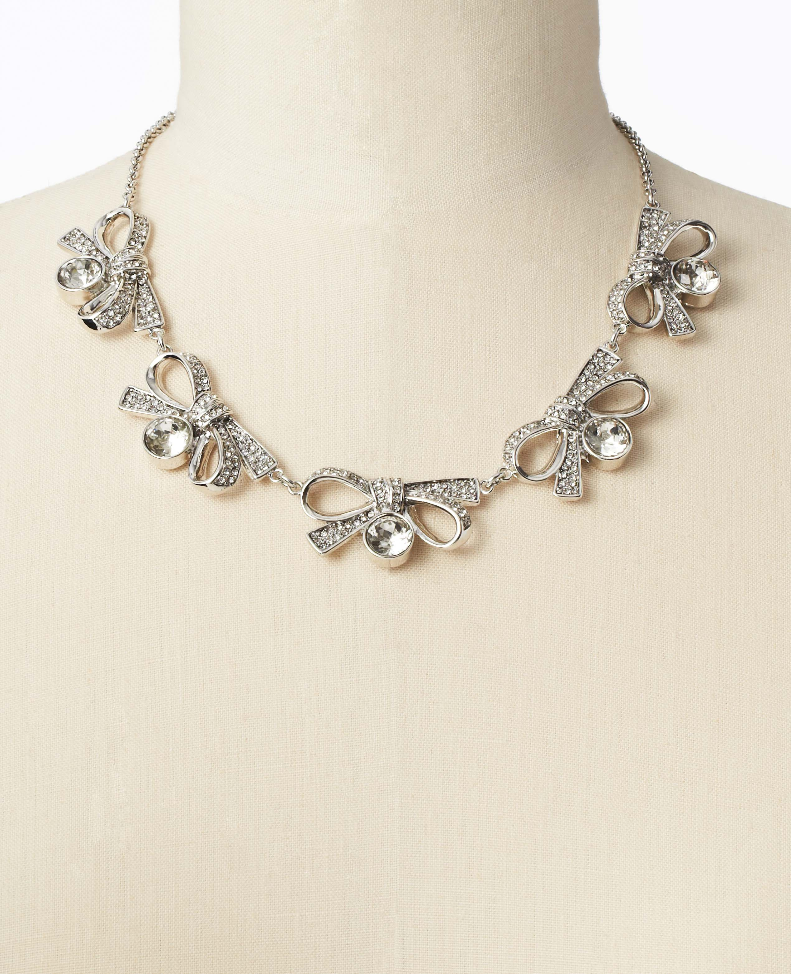 Ann Taylor Pave Bow And Crystal Statement Necklace In