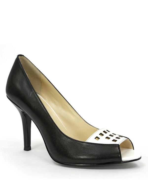 Tahari Lianne Lasercut Leather Peep Toe Pumps In Black Lyst