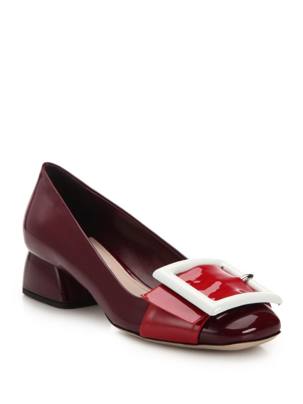Lyst - Miu Buckle-embellished Patent Leather Pumps In