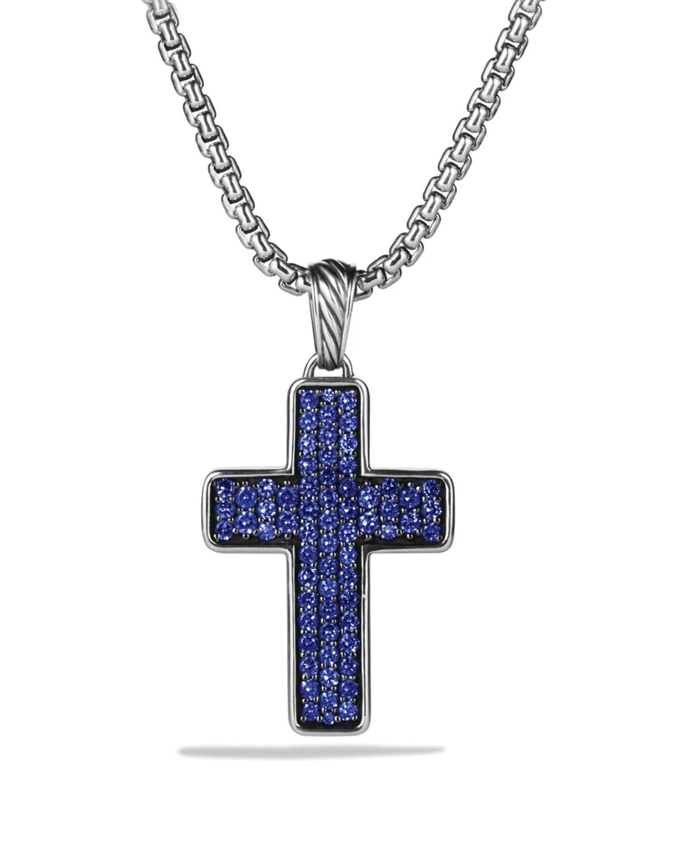 Lyst David Yurman Chevron Cross With Blue Sapphires On