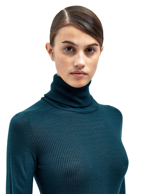 Lanvin Womens Knitted Turtle Neck Top In Green Lyst
