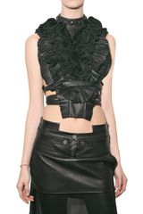 Givenchy Pleated Leather Bib Top
