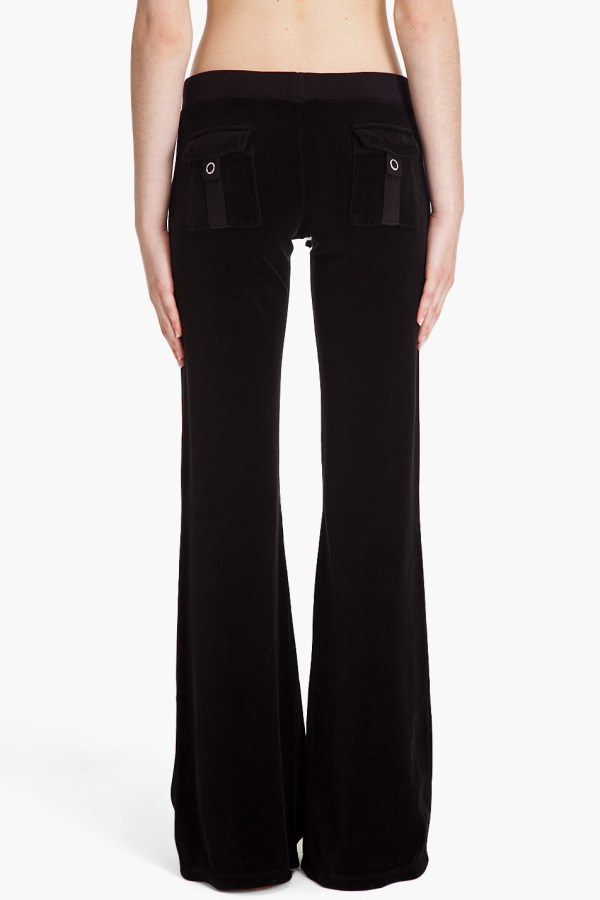 Juicy Couture Flare Velour Pants In Black - Lyst