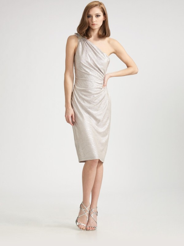 David Meister -shoulder Matelass Dress In Silver Lyst