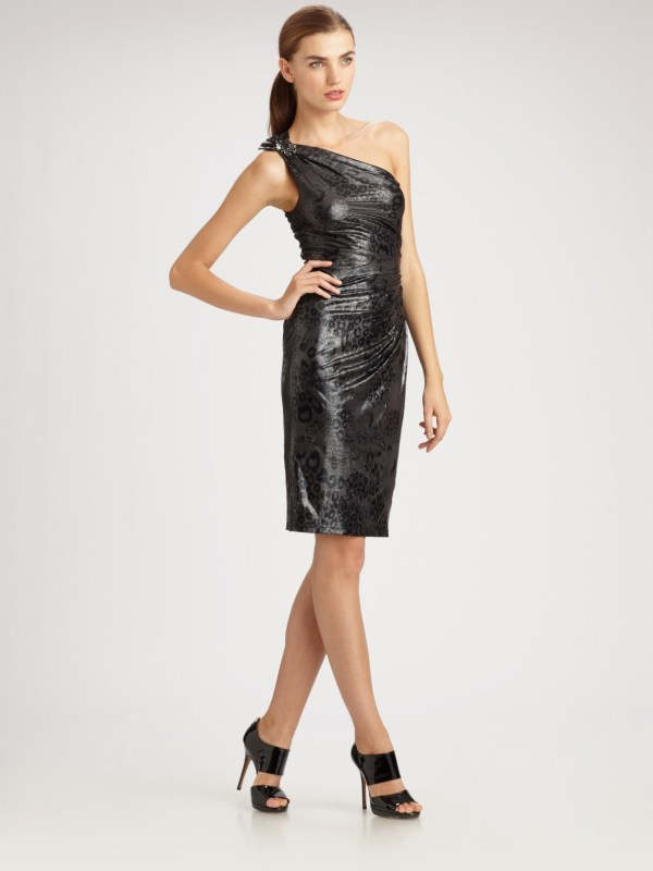 David Meister Leopard Foil Shoulder Dress In Black Lyst