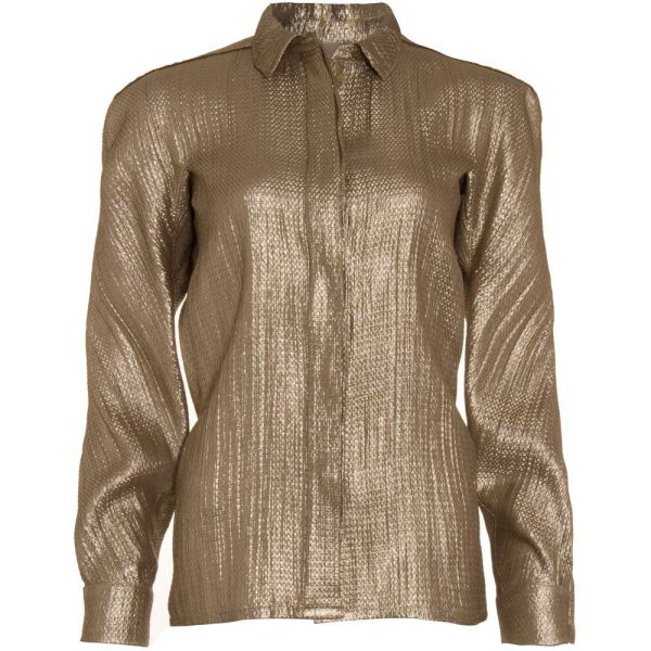 Lanvin Lam Blouse In Gold Black Lyst