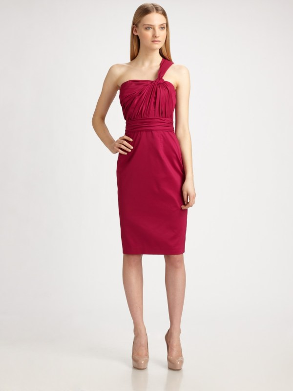 David Meister Taffeta -shoulder Cocktail Dress In Red