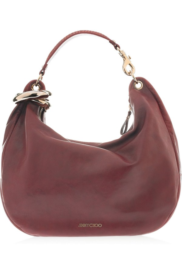 Jimmy Choo Solar Leather And Snakeskin Hobo Bag In Purple