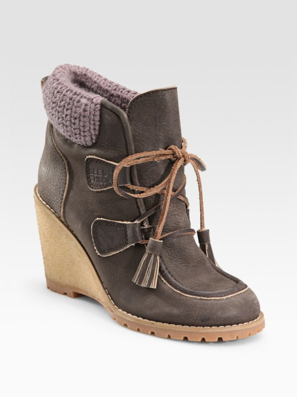 Chlo Leather Moccasin Wedge Ankle Boots In Brown