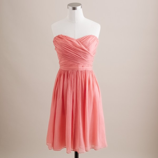 Crew Arabelle Dress In Silk Chiffon Pink Bright