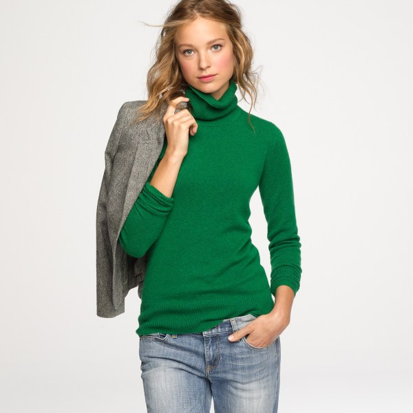 Crew Cashmere Turtleneck Sweater In Green - Lyst