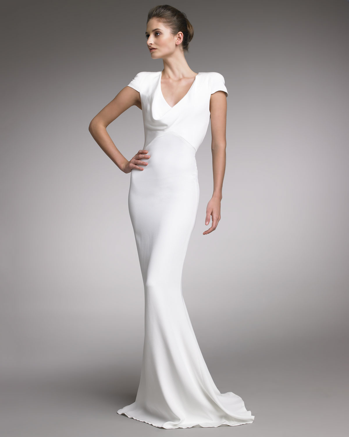 Alexander mcqueen Fitted CapSleeve Gown Natural in White