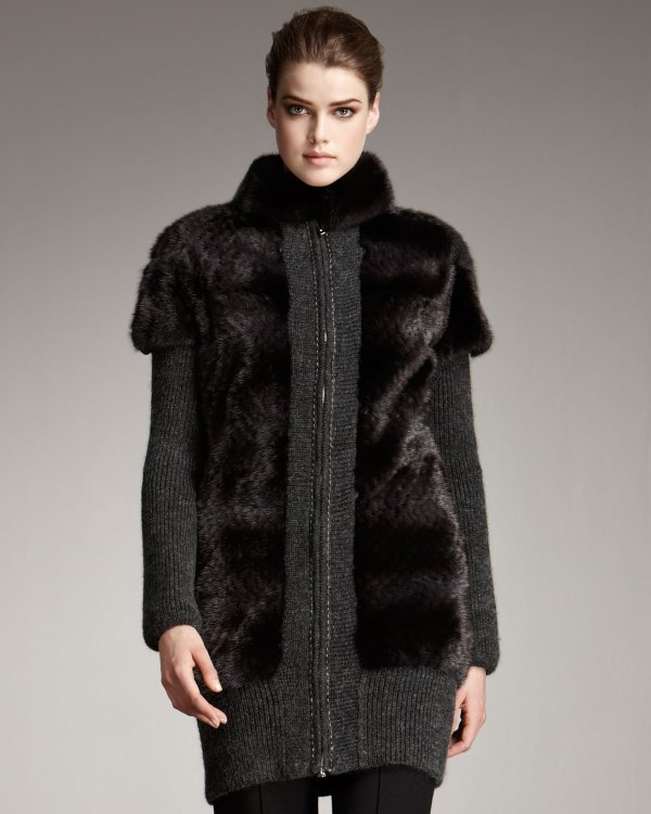 Fendi Fur & Knit Coat In Gray Grey Lyst