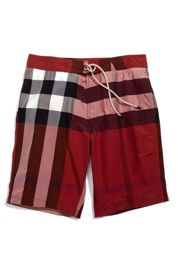 Men's Burberry Check Swim Trunks