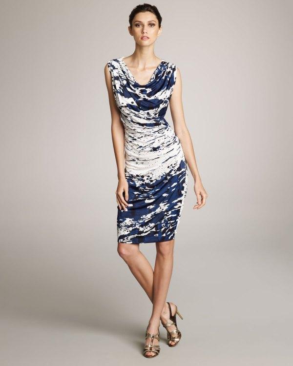 Escada Splash-print Jersey Dress In Blue Lyst
