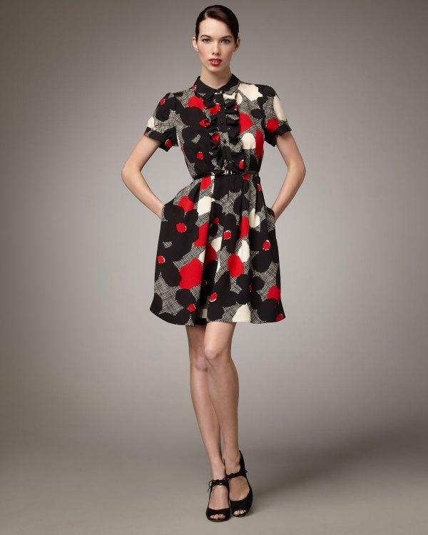 Kate Spade Nellie Floral-print Dress In Black - Lyst