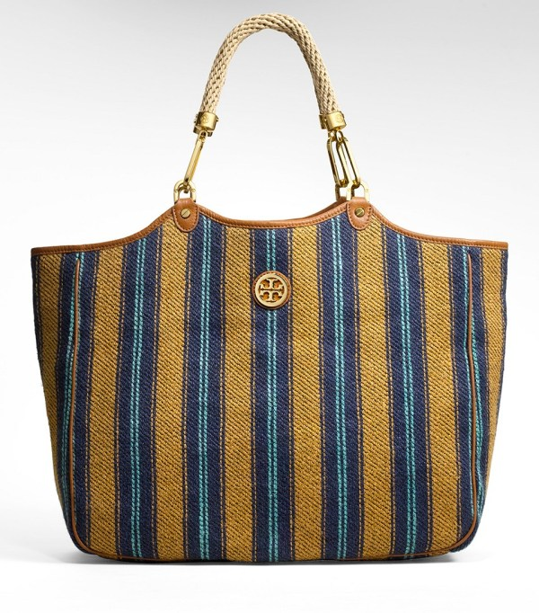 Tory Burch Mexican Stripe Channing Tote In Blue - Lyst