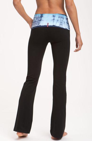 Hard Tail Roll Waist Flare Leg Pants in Black black