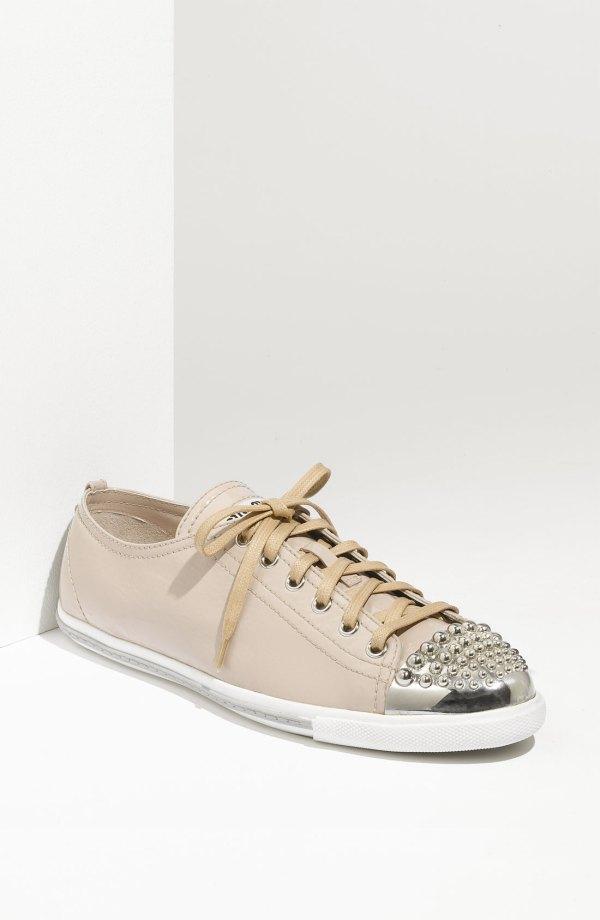 0a439fa1c564 Miu Miu Glitter 2 Sneaker in Beige nude leather Lyst