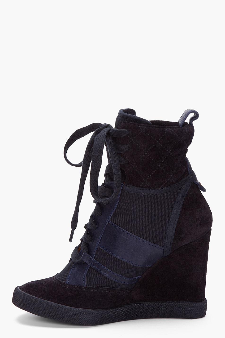 Lyst  Chlo Black Wedge Sneakers in Black