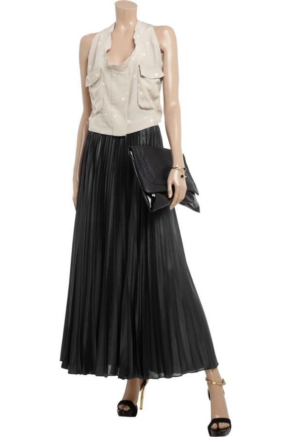 Bcbgmaxazria Pleated Chiffon Maxi Skirt In Black - Lyst