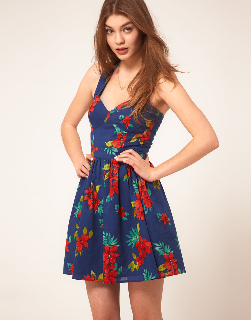 Lyst  Asos Summer Dress in Floral Print in Blue