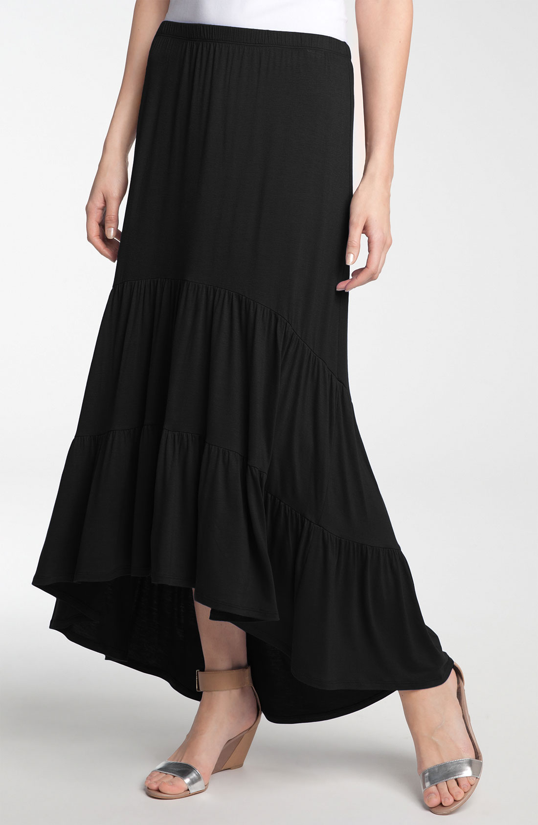 Olivia Moon Tiered Knit Maxi Skirt with High Low Hem in Black  Lyst