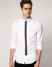 Lyst - Asos Slim Fit Shirt with Tie Pin in White for Men