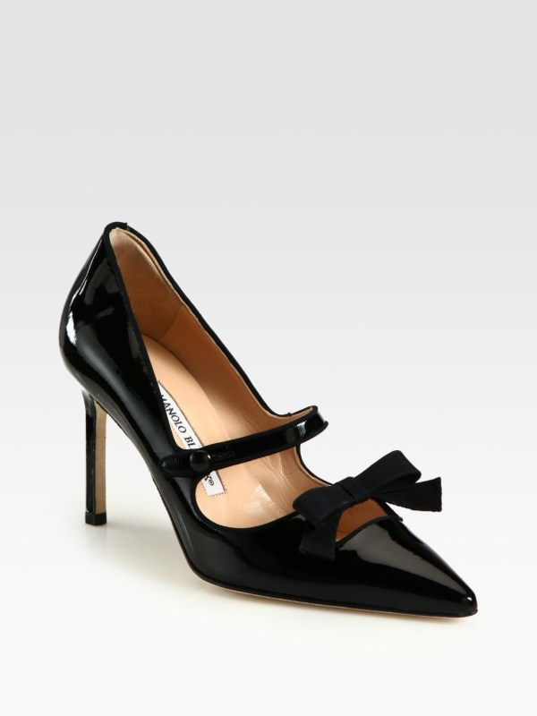 Lyst - Manolo Blahnik Patent Leather Mary Jane Bow Pumps