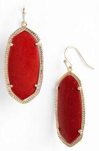 Kendra Scott 'Elle' Drop Earrings in Red (red coral)