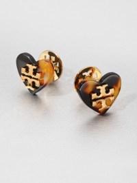 Tory Burch Heart Stud Earrings in Brown   Lyst