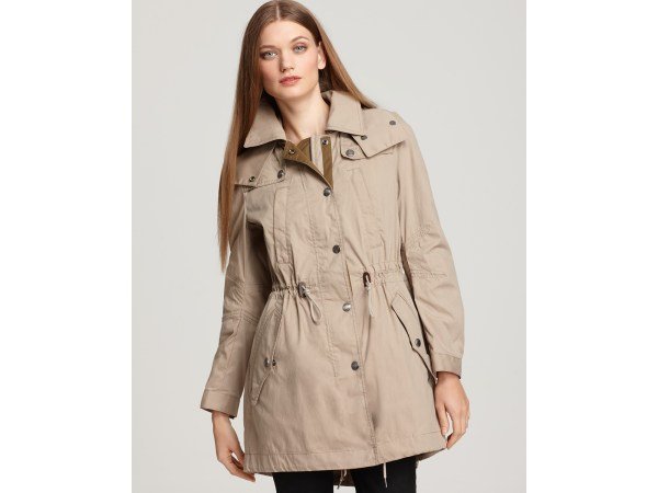 Burberry Brit Hooded Anorak In Beige Canvas Lyst