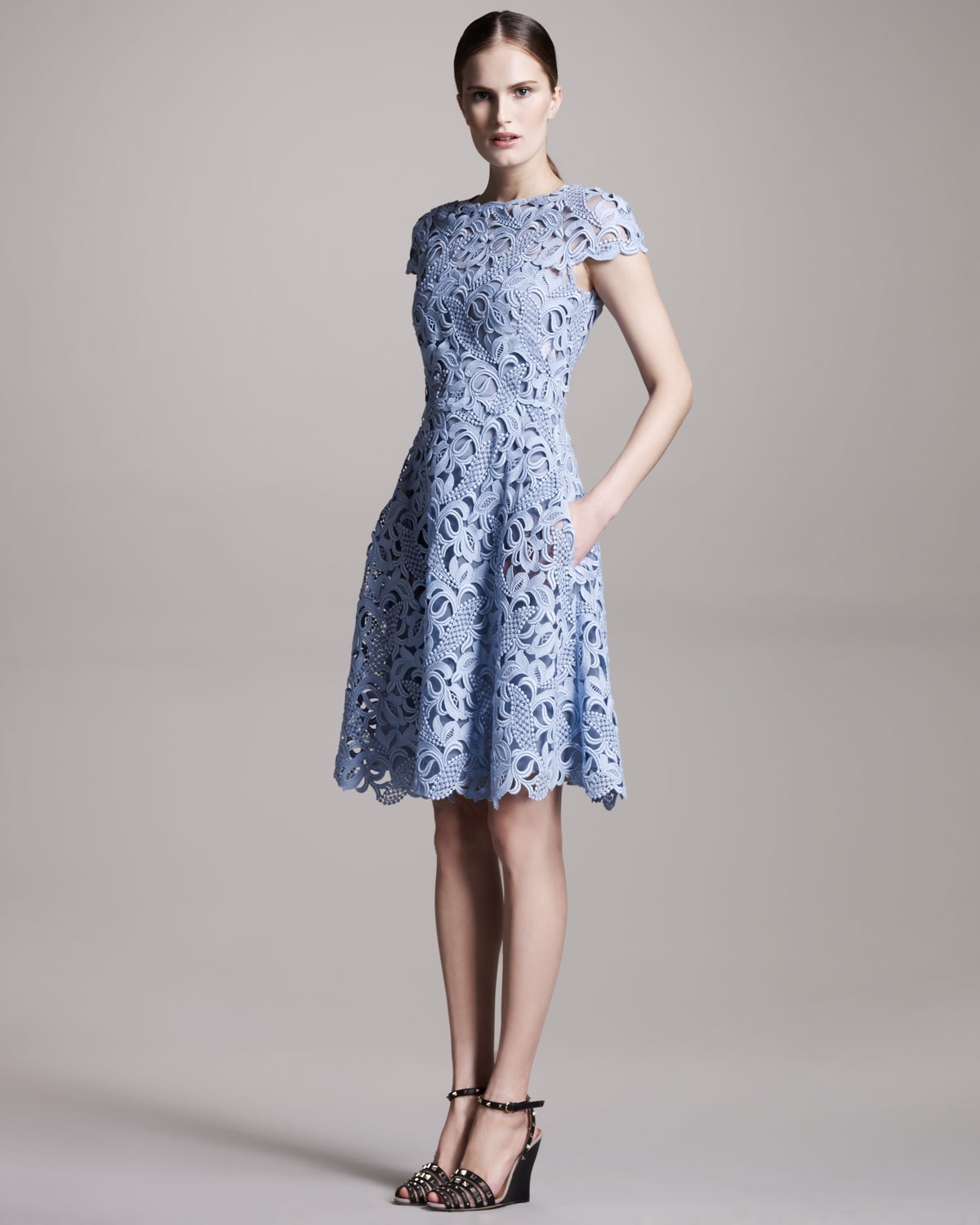 Lyst  Valentino Capsleeve Lace Dress in Blue