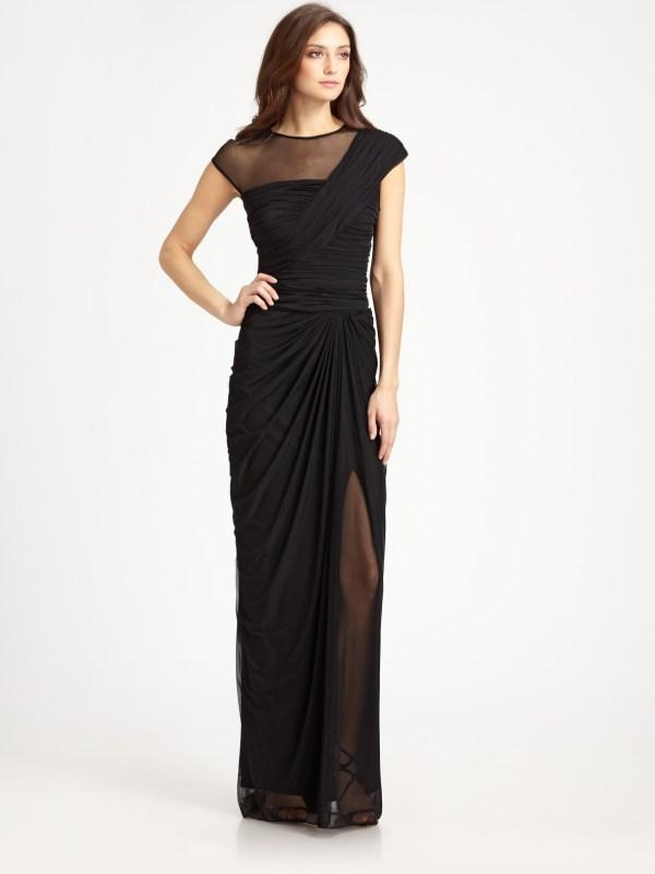Tadashi Shoji Illusion Gown In Black Lyst