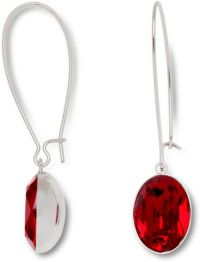 Swarovski Silver Tone Red Crystal Drop Earrings in Red ...
