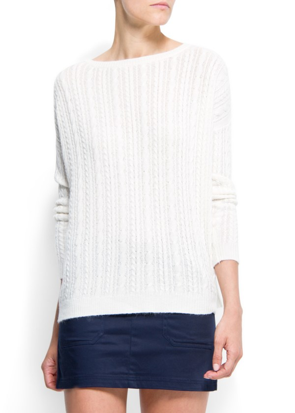 Mango Angora Cable Knit Jumper In Natural - Lyst