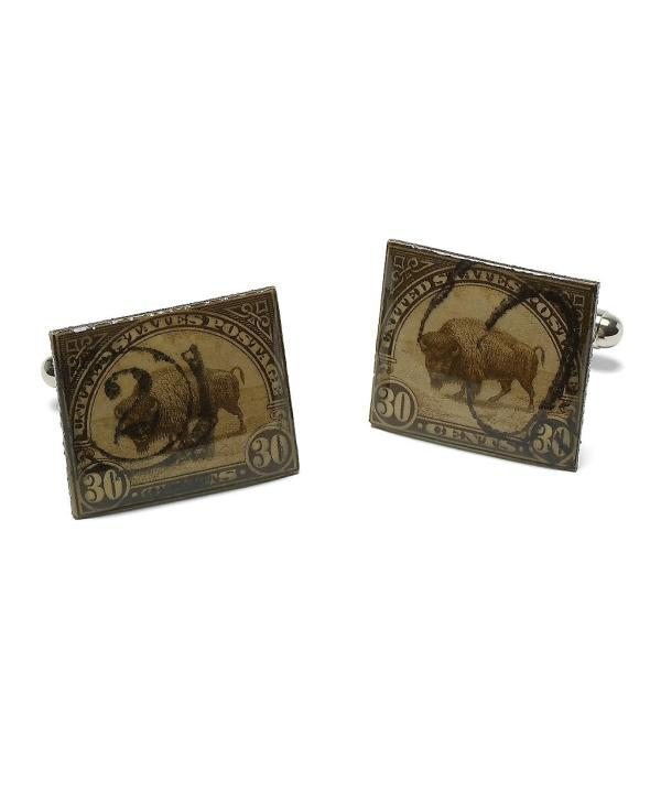 Brooks Brothers Vintage Bison Stamp Cuff Links In Metallic