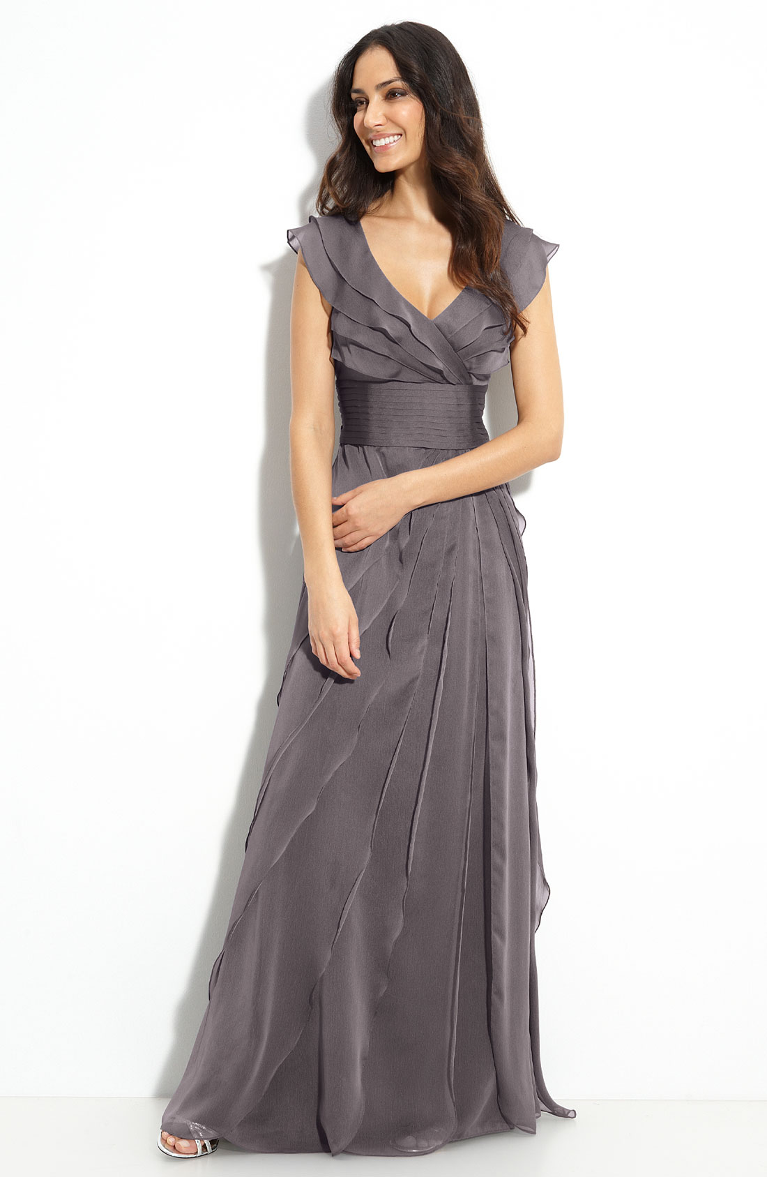 198 Sz 12P Adrianna Papell Tiered Chiffon Gown Gray