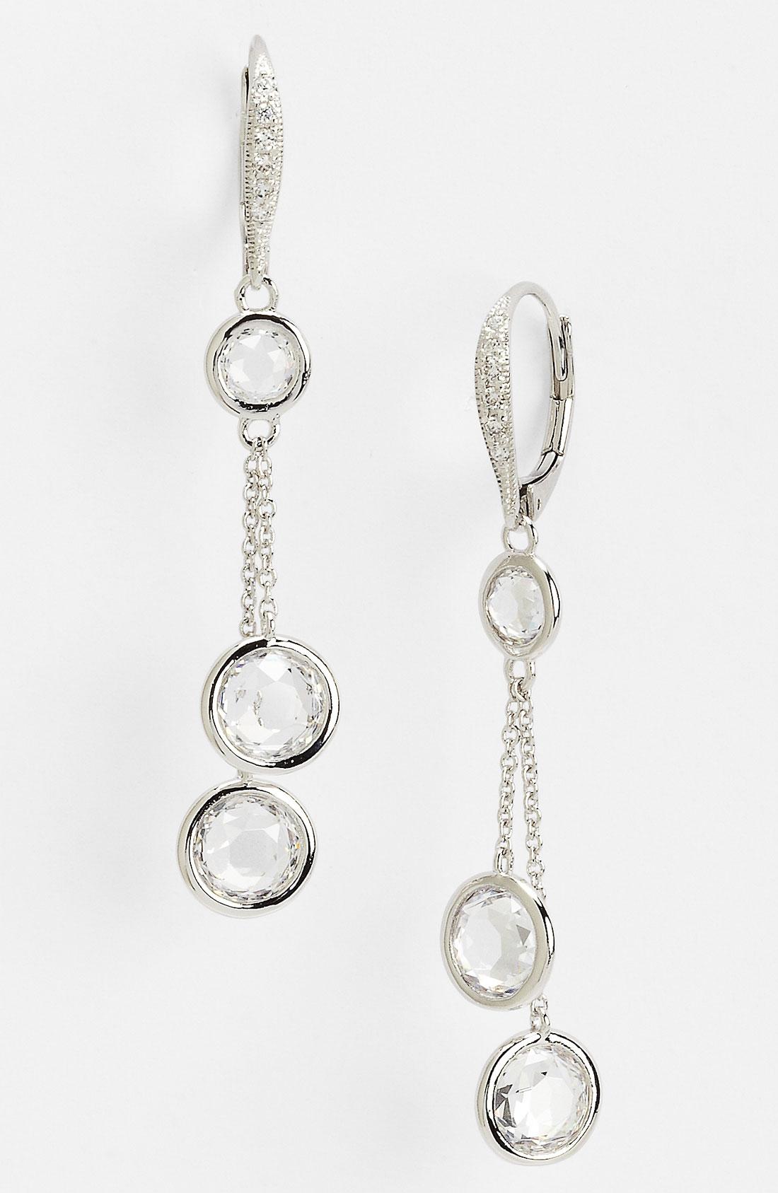 Nadri Bezel Station Drop Earrings in Silver (silver/ clear