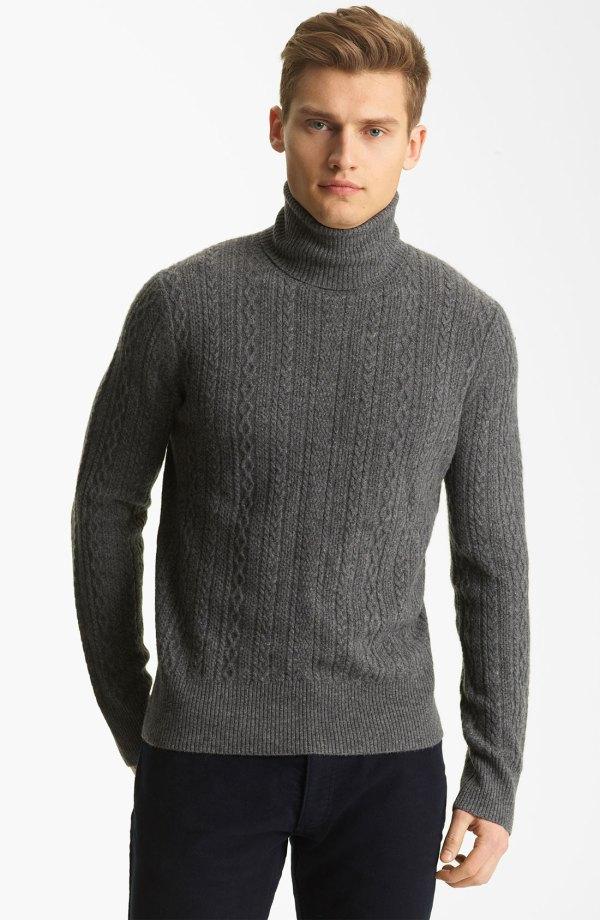 Billy Reid Elton Cashmere Turtleneck Sweater In Gray