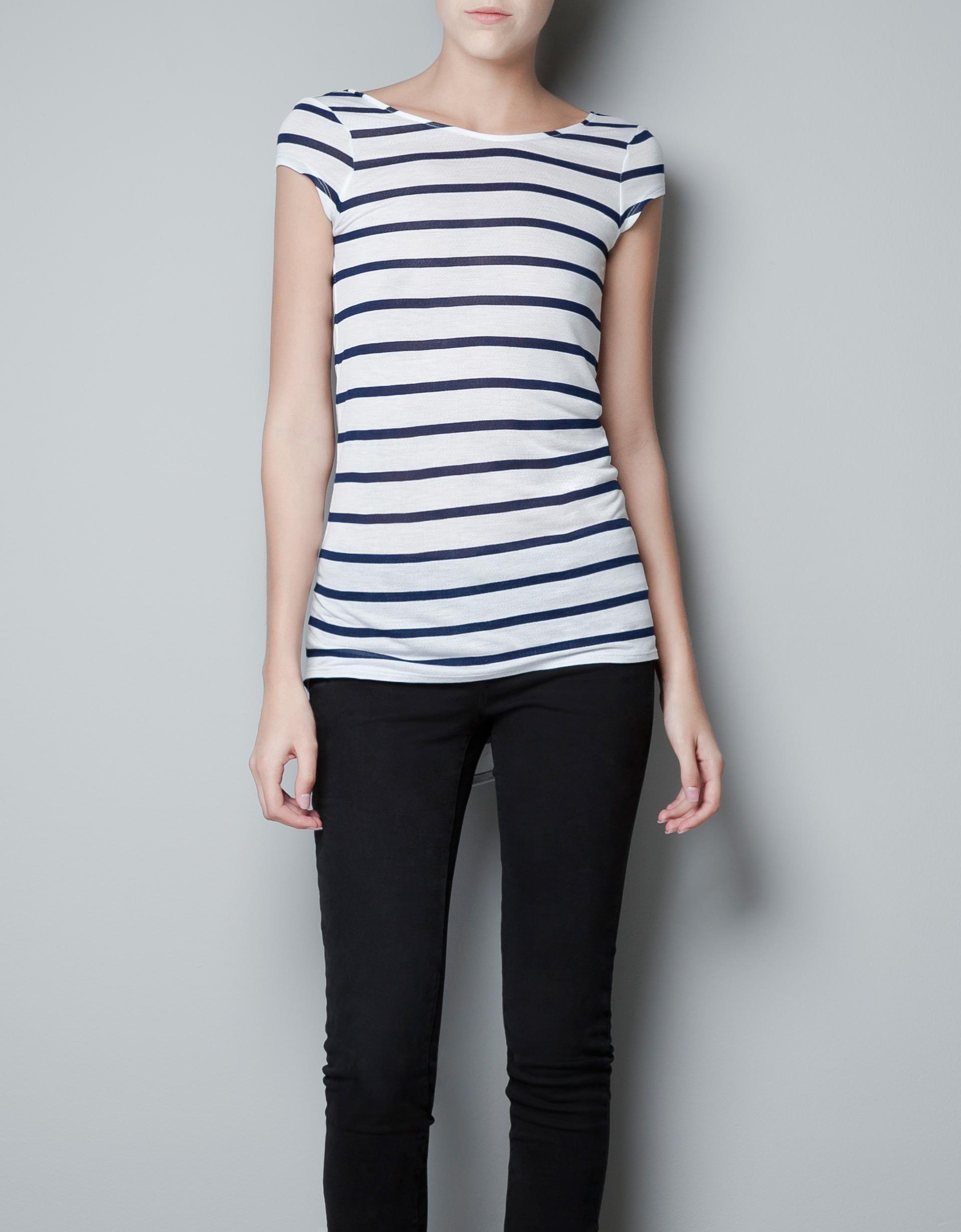 Zara Cute Sweet Tshirt with Low Cut Back in White whitenavy  Lyst